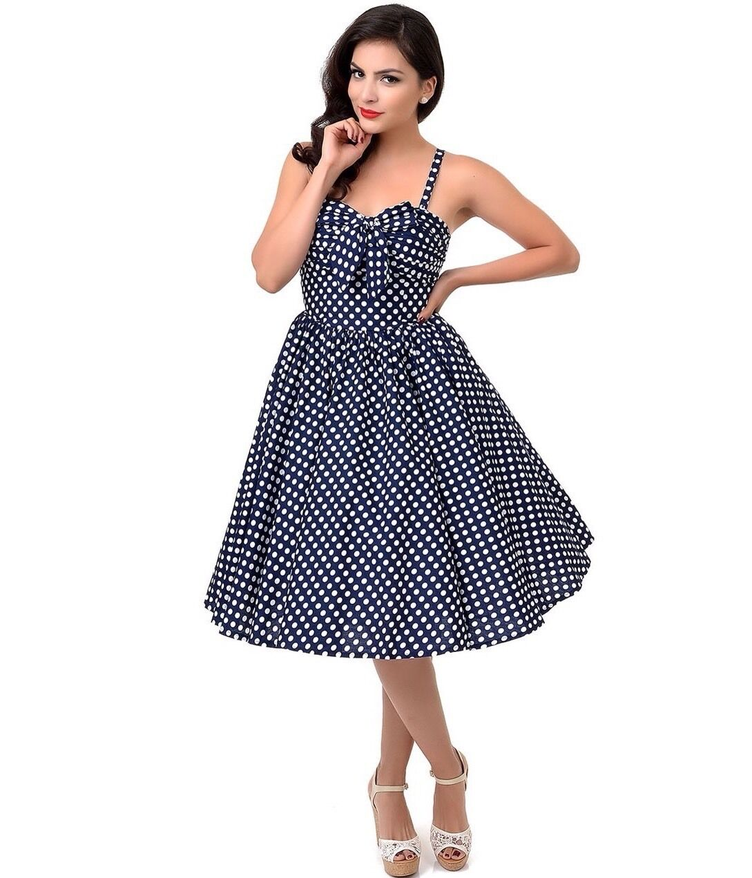New Pinup Unique Vintage Iconic Navy & White Polka Dot Golightly Swing Dress XS