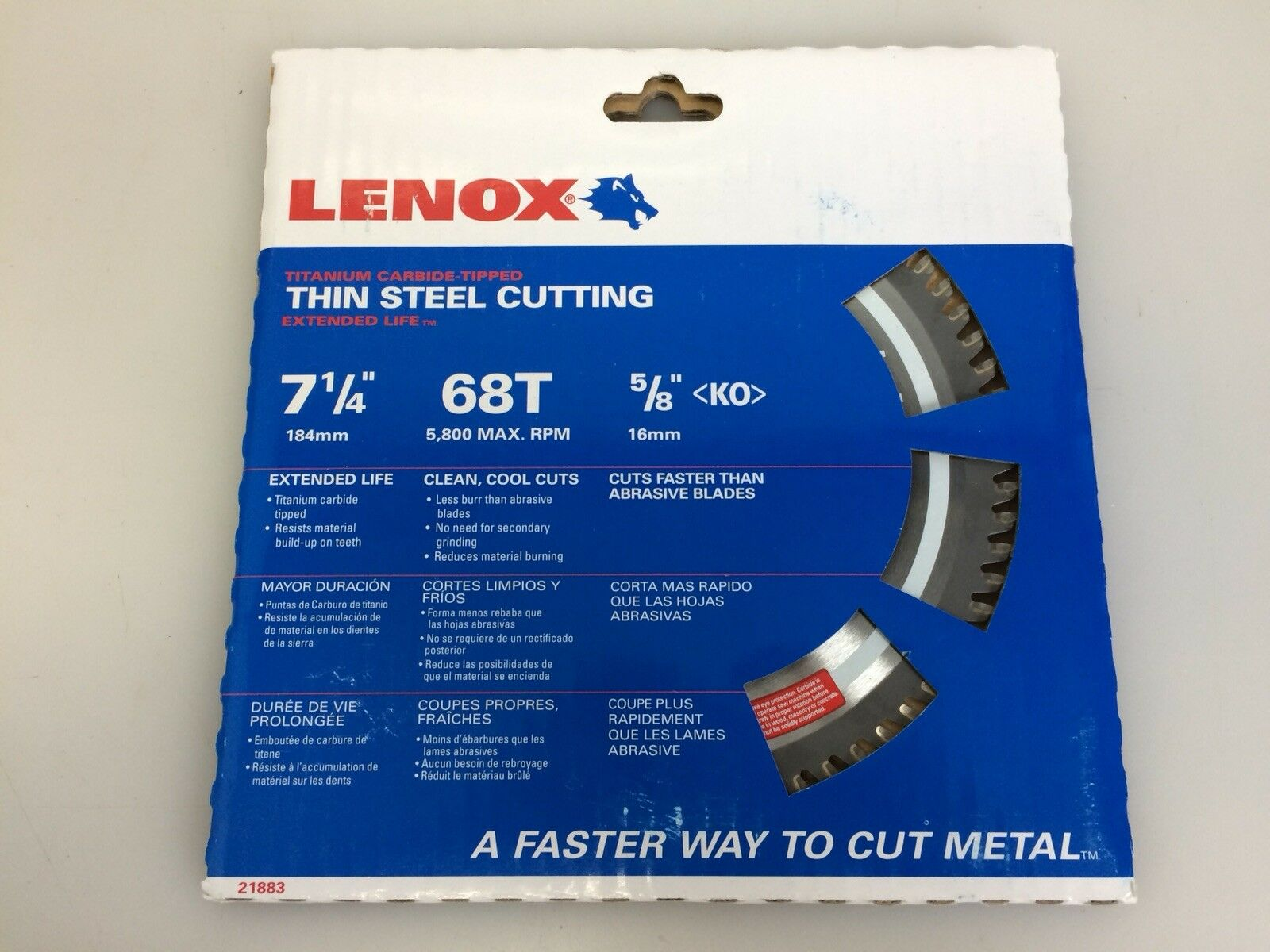 Lenox 21883 7-1 4in 68T Titanium Carbide-Tipped Metal Cutting Circular Saw Blade