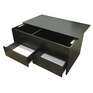 Coffee-Table-Slide-Top-Black-Storage-2-Drawers-Ottoman-Redstone