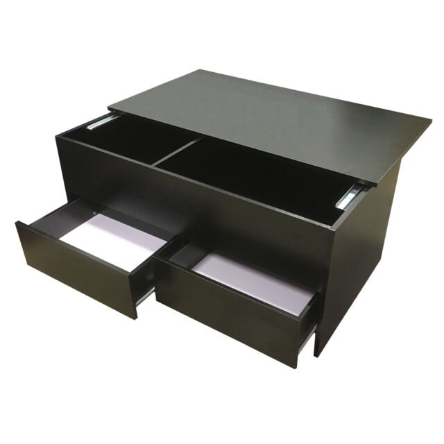 Redstone Black Wood Coffee Table Slide Top With Storage Inside And 2 Drawers Ebay