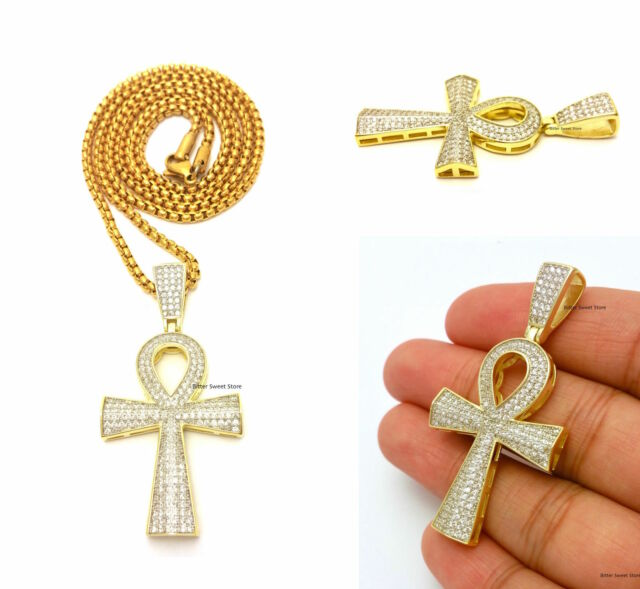 14K WHITE GOLD ON STERLING SILVER SIMULATED DIAMOND ANKH CROSS PENDANT CHAIN SET