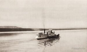 1925 Vintage CANADA ~ Steamer Mackenzie River Boat Nautical Landscape Photo Art
