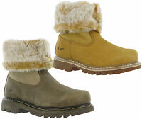 CAT Caterpillar Bruiser Scrunch Womens Leather Fur Lined Ankle Boots