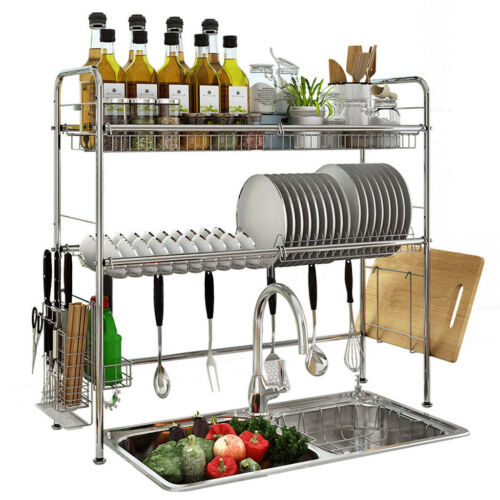 3 Tier Over The Sink Dish Drying Rack Shelf Stainless Kitchen W// Utensils/&Holder