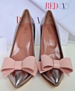 Valentino-Red-Leather-Bow-Handmade-Italy-Heels-37-US-6-5-7-Shoes-Silver-Pink