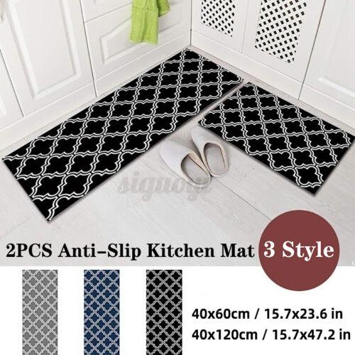 Carvapet 2Pcs//Set Non-Slip Kitchen Mat Rubber Backing Area Rugs Home Decor