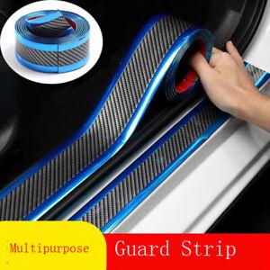 Silver Car Sticker Carbon Fiber Rubber DIY Door Sill Protector Edge Guard Strip