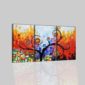 Quadri dipinti a mano su tela astratti con albero trittico for Quadri trittici moderni