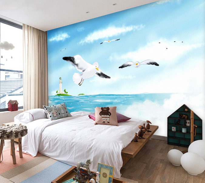 3D Seagulls Castle Swa 52 Paper Wall Print Wall Decal Wall Deco Indoor Murals