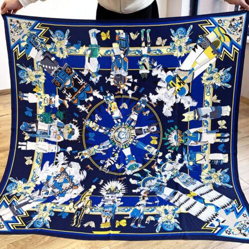 100/% Silk Scarf Luxury Tribal Style Printed Shawl Kerchief Bufanda Foulard 135cm