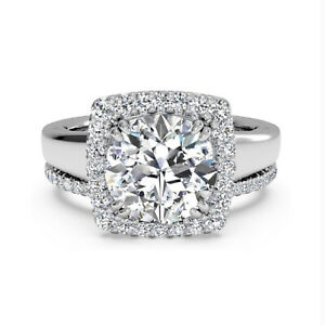 1.25 Ct Round Moissanite Engagement Superb Band Set Solid 18K White Gold Size 8