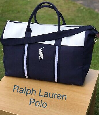 Ralph Lauren Polo Duffle Bag Holdall Blue White Flight Holiday Gym New 3605971386060 Ebay
