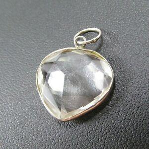 Vintage-Sterling-Silver-Clear-Quartz-Heart-Pendant-2-grams-Faceted-cut-NOS