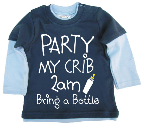 """Funny Baby Skater Top /""""Party My Crib 2am Bring a Bottle/"""" Boy Girl Gift Clothes"""