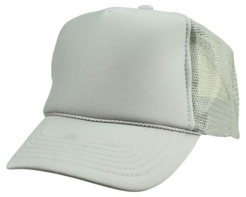 Youth Trucker Hat Ball Cap Mesh Kids Blank Plain S XS Red Blue Gray Black White