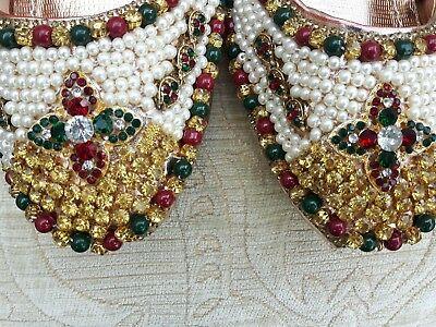 Durazno/Bronz Damas Indio Boda Khussa tamaño del zapato 3