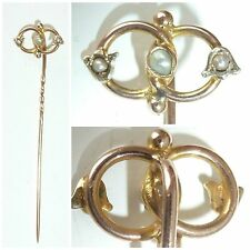 Victorian 9ct yellow gold Pearl Love Knot Stick Stock Pin Tie Pin