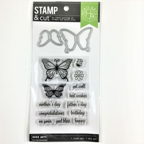 Hero Arts Stamp /& Cut Butterfly Pair Clear Stamp Die Set Birthday Mother/'s Day