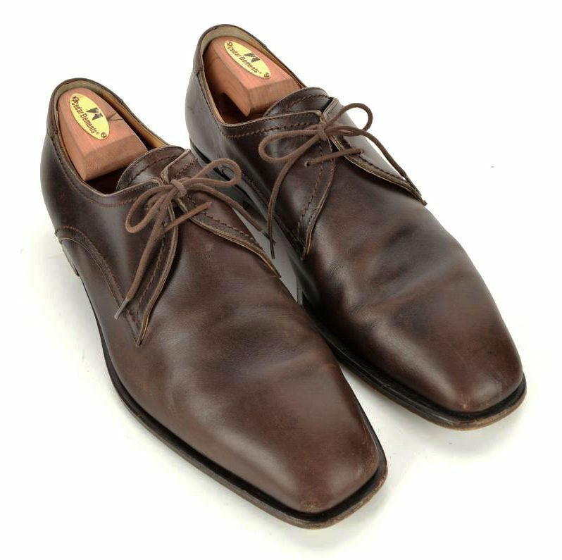 HERMES Solid Brown Leather Mens Oxford Derby Dress shoes - EU 42   US 9