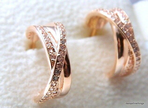 852605f3a Authentic PANDORA Rose Gold Cubic Zirconia Entwined Hoop Earrings 280730CZ