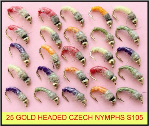 25 TROUT FLIES mixed GOLD HEADED CZECH NYMPHS trout fly fishing flies SET 105