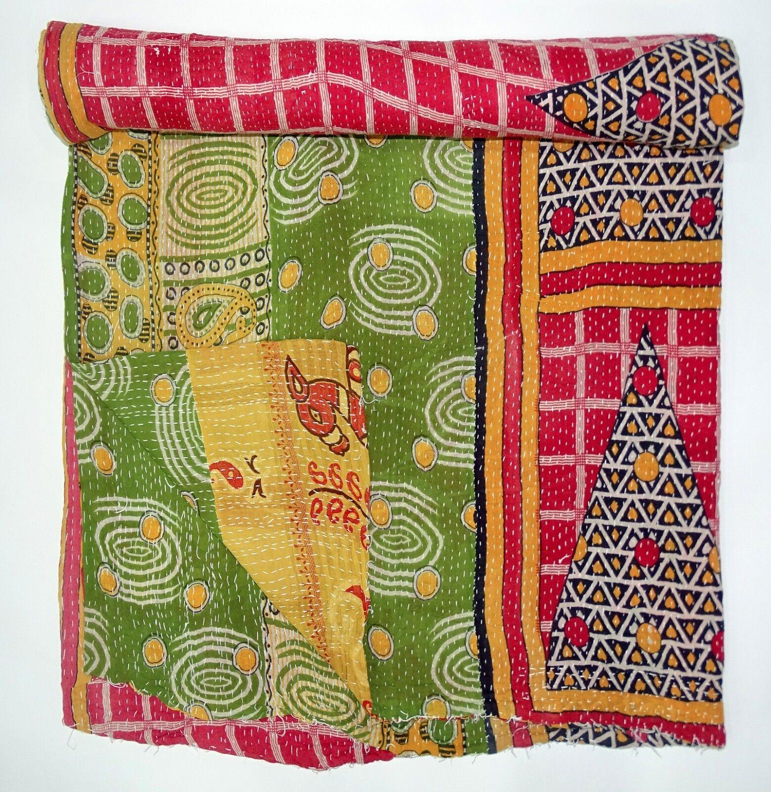 Vintage Kantha Quilt Bedsheet Reversible Gudari Handmade Throw Indian Bedcover
