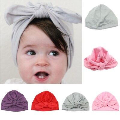 Cute Kids Baby Girls Turban Bow Knot Head Wrap Bunny Rabbit Ear Hat Cotton Cap