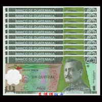 Lot 10 PCS, Guatemala 1 Quetzales,2008- 2012, P-115, Polymer, UNC
