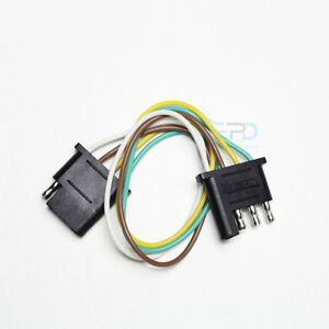 Details about 4-Pin Plug Trailer Light Wiring Harness Extension Flat on