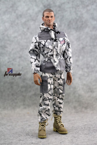 1//6 Scale Snow Camouflage Hooded Camo Top Pants Clothes Uniform Set Model