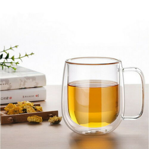 200ML Double Wall Glass Milk Tea Cup Heat-Resistant Coffee Mugs with Handles
