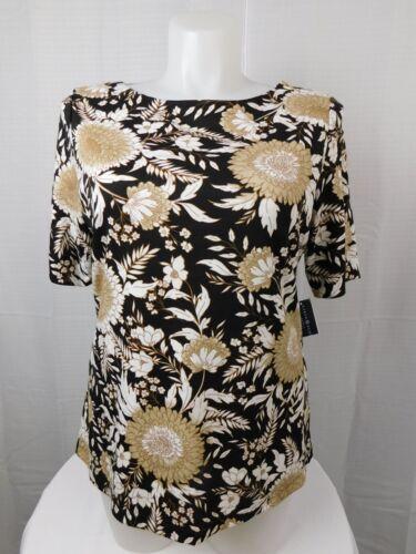 Karen Scott Plus Size Floral Print Zipper-Shoulder Top 2X Black-Brown #4071
