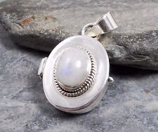 925 Silver RAINBOW MOONSTONE Prayer Box Locket Pendant P501~Silverwave*uk