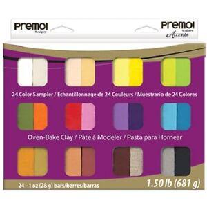 PREMO-Sculpey-Accents-24-bar-Polymer-Clay-SAMPLER-PACK-Pearls-Metallics-Basics