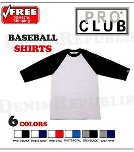 f8ac4e3e PRO CLUB BASEBALL MENS T-SHIRT 3/4 SLEEVE Black Grey Red Royal ...