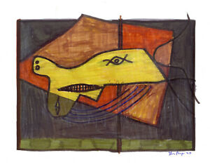 Cubism-F-paneque-painting-drawing-original-Charon-boatman-paper-expressionism