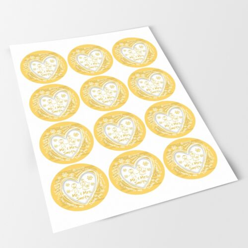 Lovely Doodle Wedding Yellow Sticker Labels for Party Bag Sweet Cones