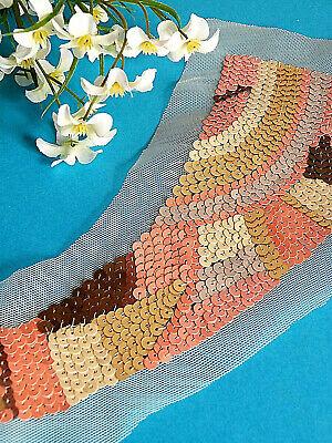 """Antiques Vintage Other Antique Textiles Practical 401# Splendid Neckband Application """" Boreale """" Sequins Multicoloured Ep"""