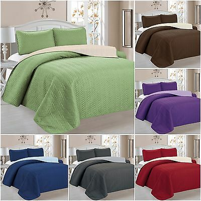 3 Piece Chevron Reversible Quilt Bedspread Coverlet Set   Available In All  Sizes