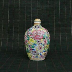 Chinese Exquisite porcelain Cloisonne Handmade Flower Snuff bottle