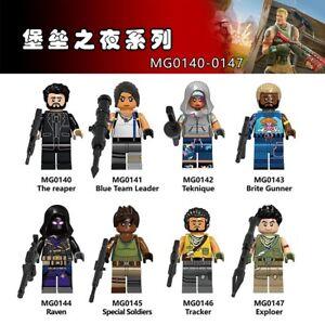 8pcs Fortnite Soldier Building Blocks Minifigure Brick Toys Raven