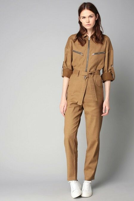 IRO Camel Olive Khaki Twill IGGY Zip Detail Belted Flight Suit Jumpsuit 38 US 6