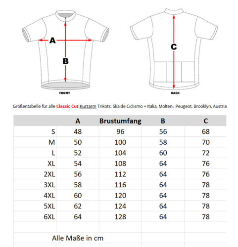 Radtrikot Skaide Ciclismo Retro celeste kurzarm auch Übergrößen bis 6XL