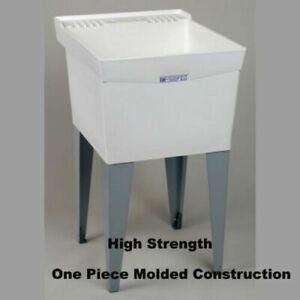 UTILITY-SLOP-SINK-Tub-Floor-Standing-Bath-Wash-Garage-Laundry-Room-White-NEW