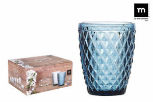 6X-SIDARI-BLUE-Vintage-tumblers-drinking-glasses-270ml-beautiful-gift-box