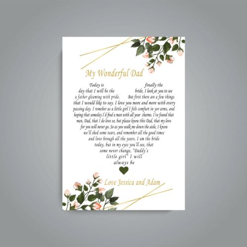 Personalised Love Heart Keepsake Poem Father of the Bride Thank You Gifts V4.8