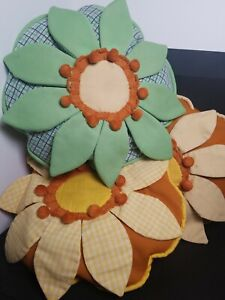 "Vtg 60s 3D Pillow Bright Floral Flower Power Handmade 12"" Circle Orange Green"