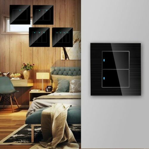 1//2//3//4 Gang Modern Home Wall LED Indicator Light Switch Glass Panel Push