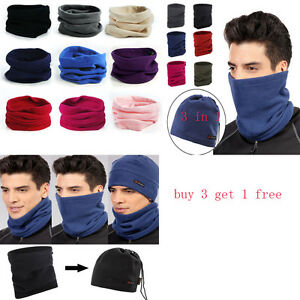Winter Hat Sports Thermal Fleece Scarf Snood Neck Warmer Beanie Face ... 2cca2f084235