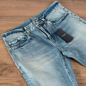 SAINT-LAURENT-790-Skinny-Jeans-In-Blue-Stretch-Denim-With-Destroyed-Knees